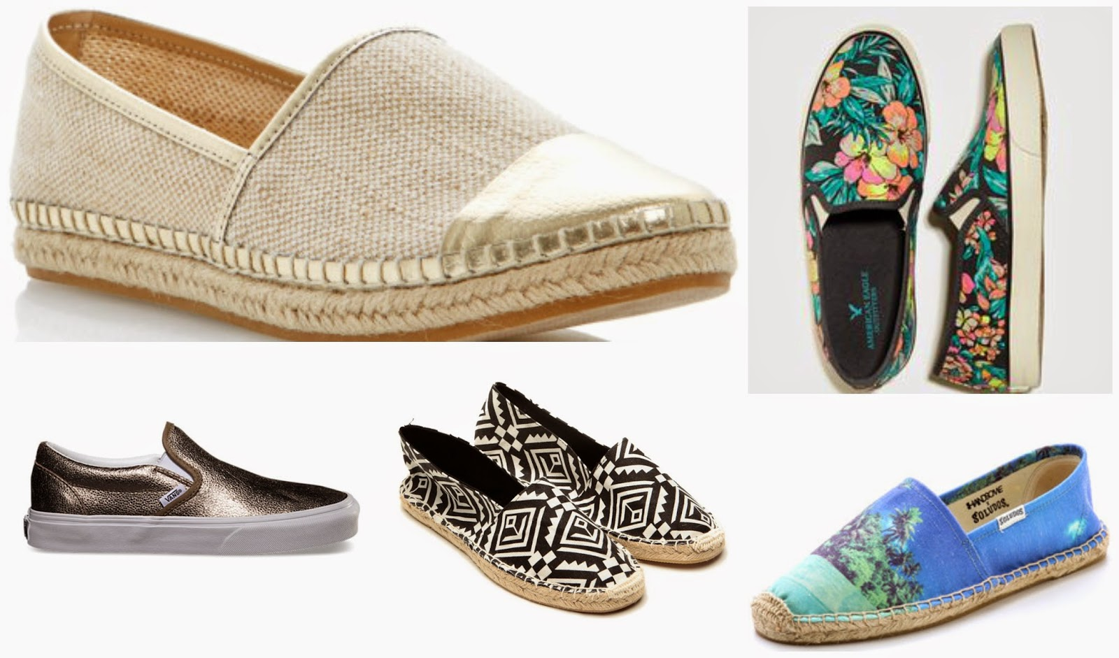 Slip-ons, latest shoe trends for summer, espadrilles, tropical prints, tribal print shoes, shoes for summer, fashion trends, metallic shoes