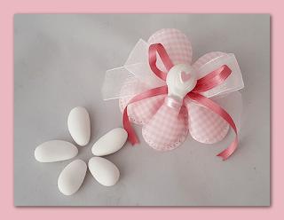 bomboniere gesso battesimo fiore mongolfiera rosa