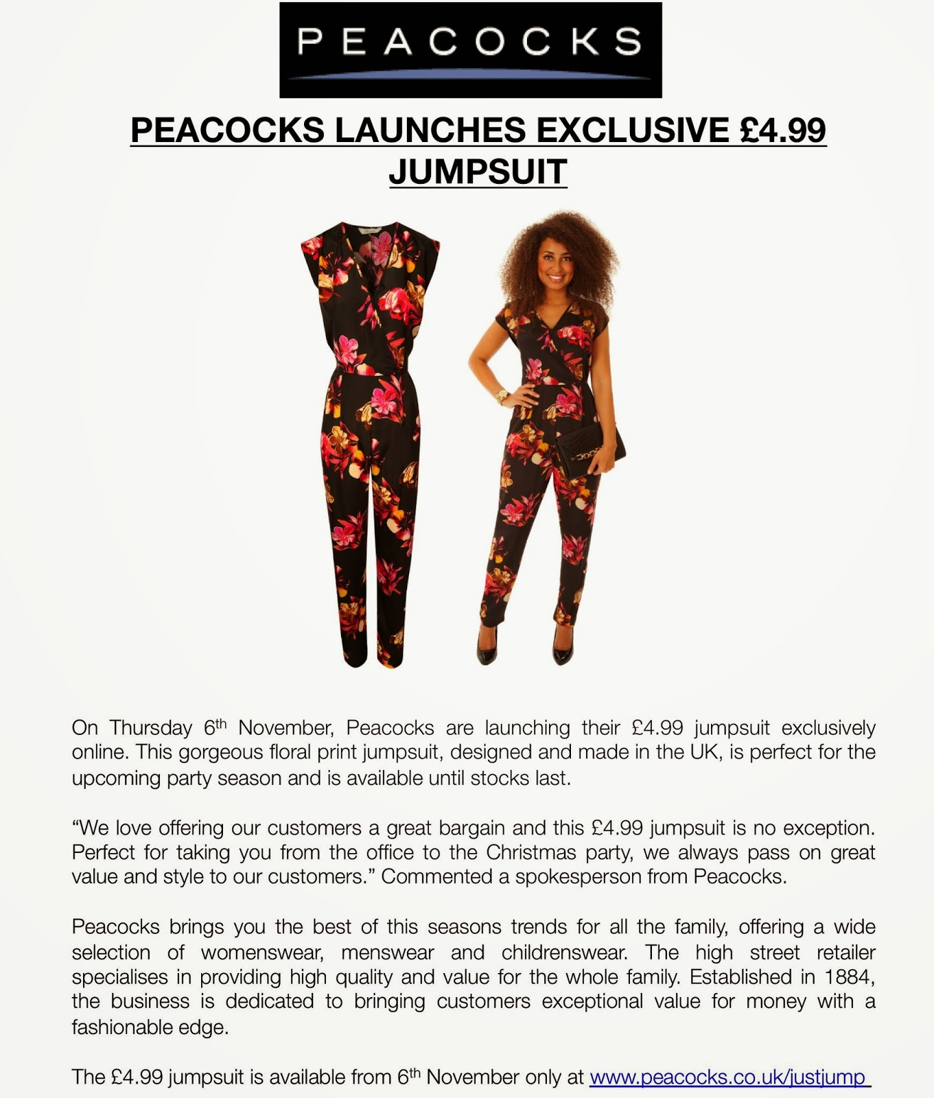 8bd06346327 frumpy to funky  Peacocks launches exclusive £4.99 Jumpsuit