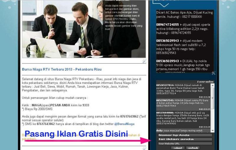 Cara Pasang Iklan Gratis di Bursa Niaga TV Pekanbaru Riau ...