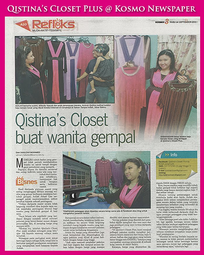 Qistina's Closet Plus @ Kosmo Newspaper