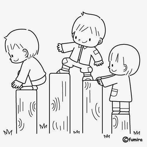 Imágenes de Niños en fila para colorear e Imprimir - Para niños