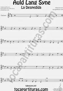 Partitura de La Despedida para Clarinete Popular Italia Auld Lang Syn Sheet Music for Clarinet Music Scores