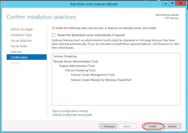 Installing cluster services in windows server 2012 using server manager