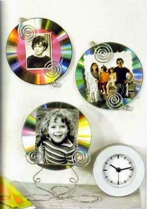 Portaretratos reciclados con cds
