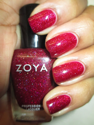 Zoya, Blaze, raspberry, jelly, holo glitter. holographic, nails, nail art, nail design, mani