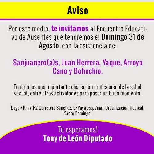 INVITACIÓN: ENCUENTRO CON AUSENTES DOMINGO 31