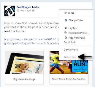 Embed Facebook status Post To Blogger