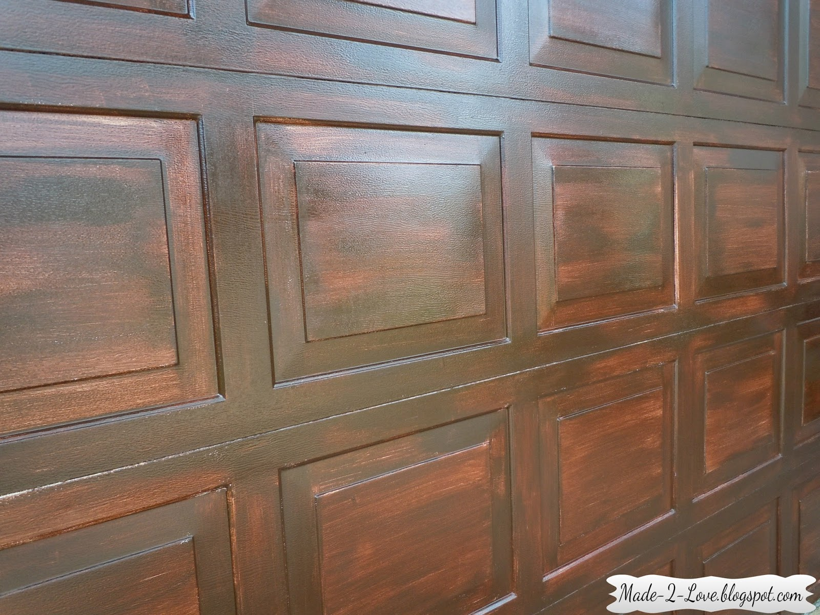 Made to love diy faux wooden garage door for Fake wood garage doors