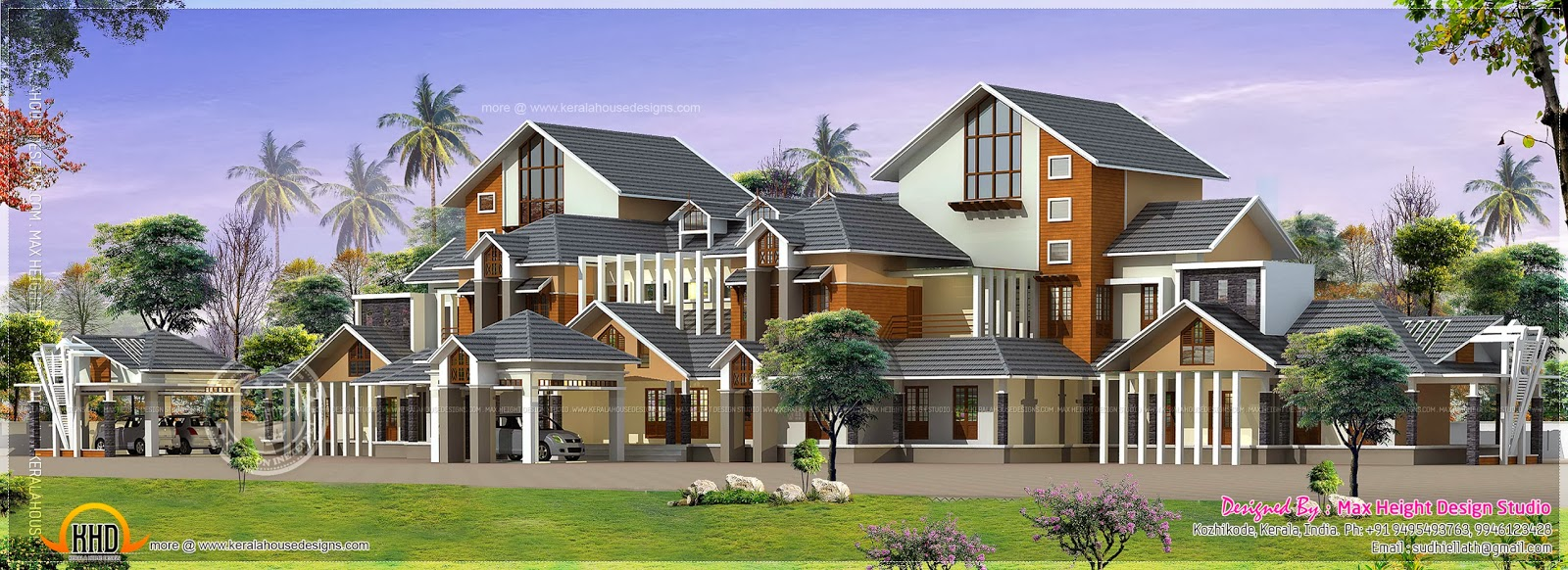 Gigantic super luxury floor plan home kerala plans for Luxury farmhouse plans