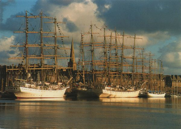 tall ships in harbour
