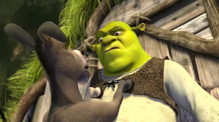Shrek confronting the donkey 2001 animatedfilmreviews.filminspector.com