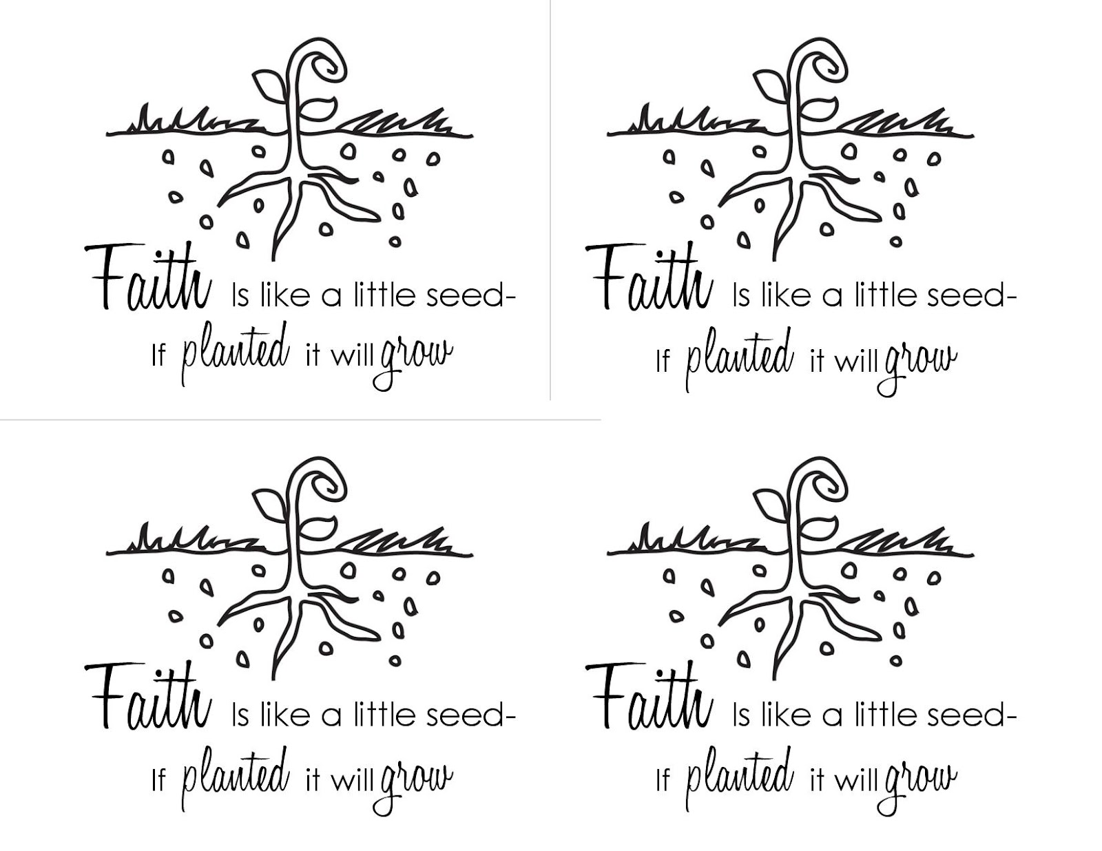 faith is like a seed printable handout occasionally crafty