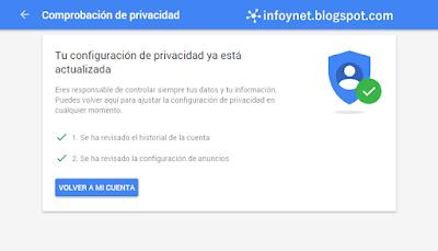Comprobación de privacidad de Google terminada