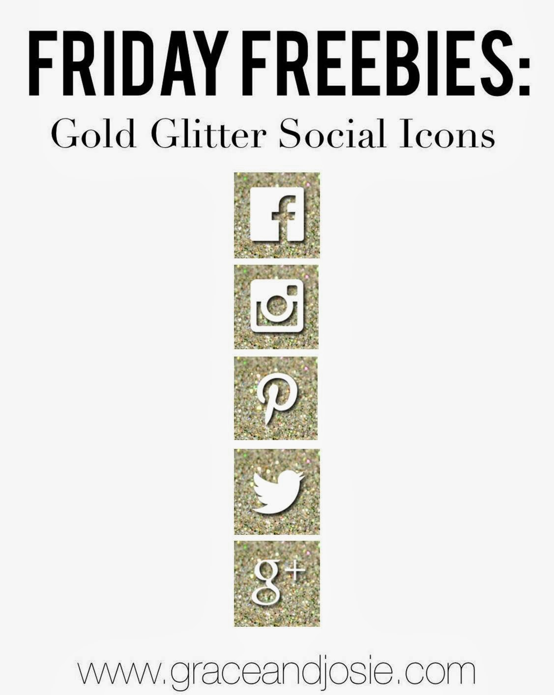Friday Freebies Gold Glitter Social Media Icons
