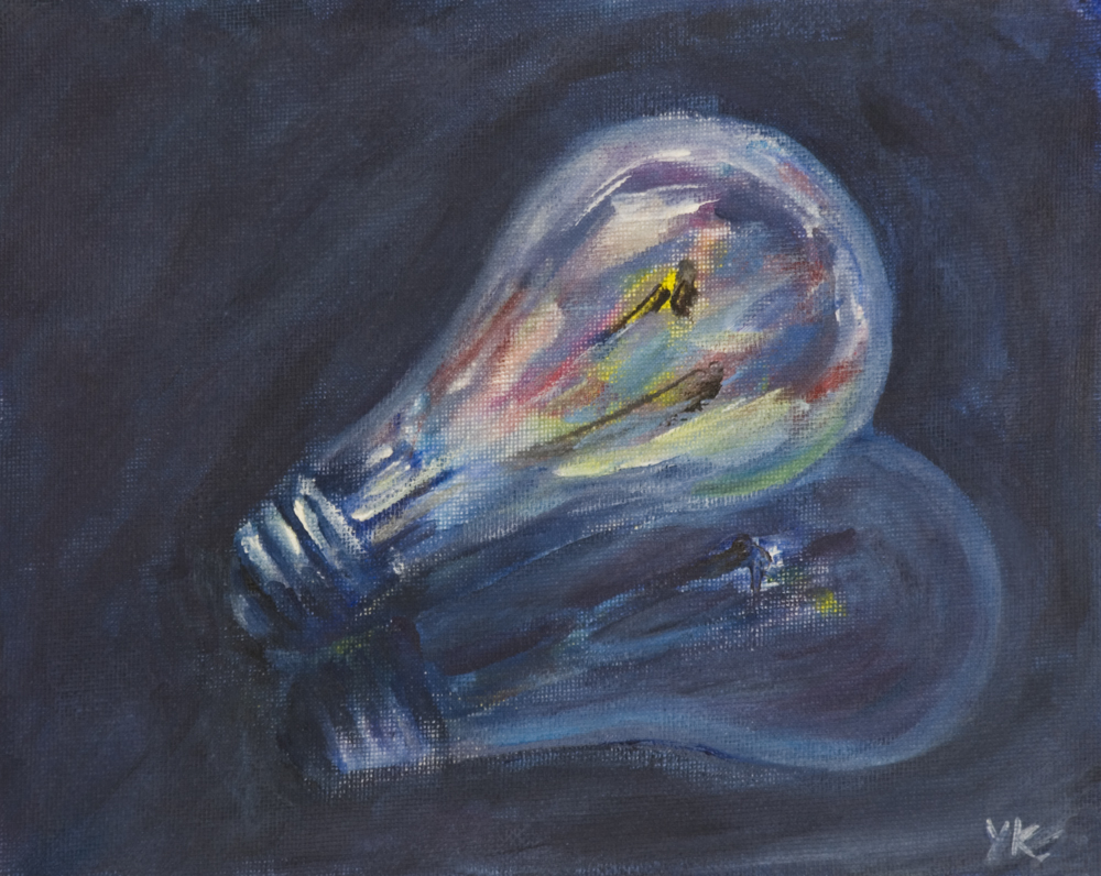yulia kazansky art studio painting happy light bulb