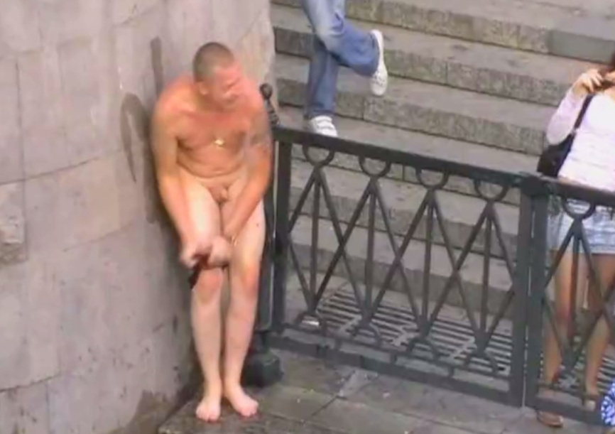 Straight men naked in public