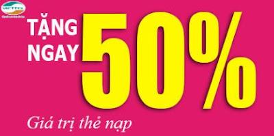 Viettel khuyến mãi 50% giá trị thẻ nạp ngày 30, 31/10/2015