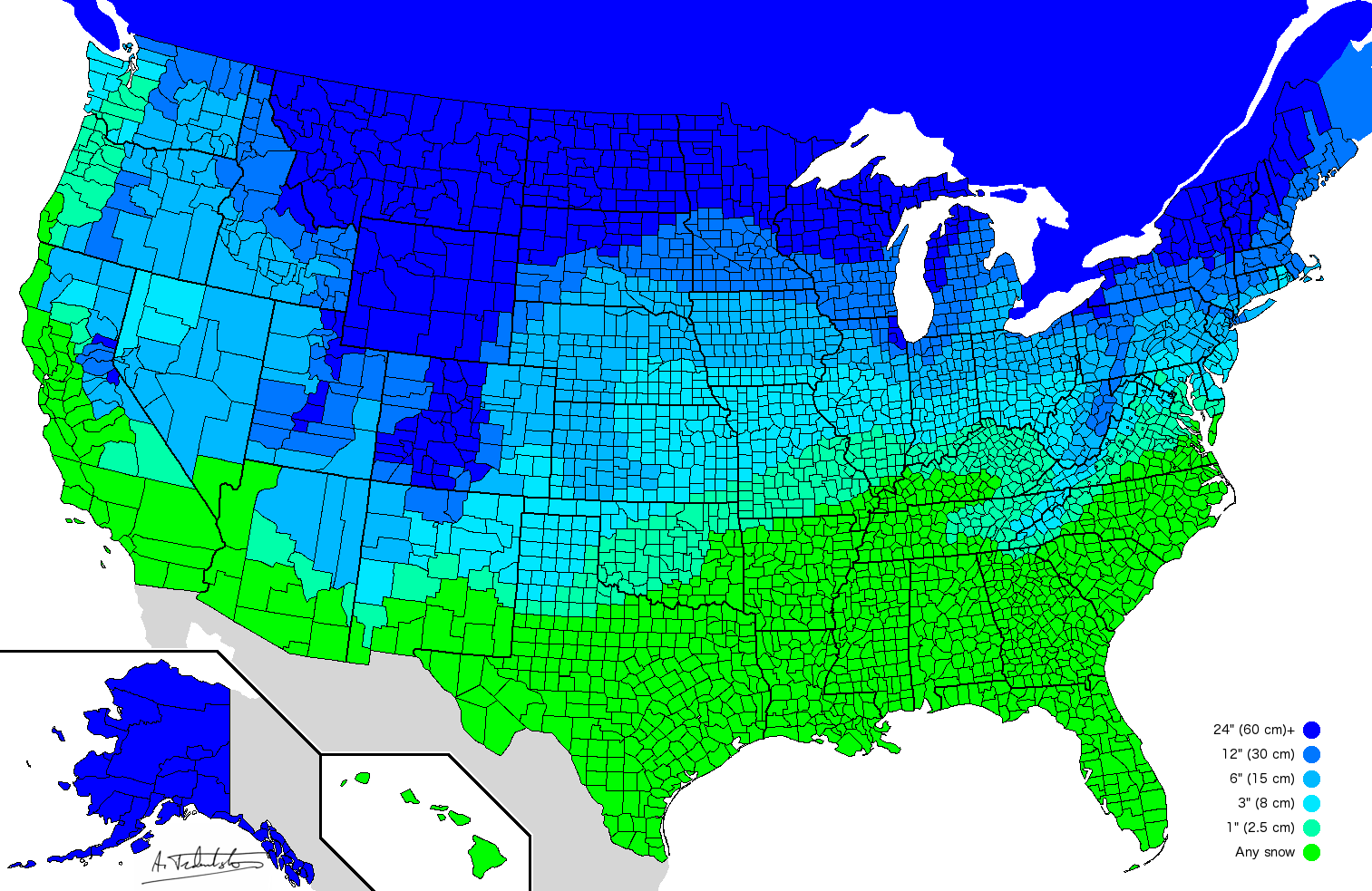 Gacekblog Map of the Day How much snow it typically takes to