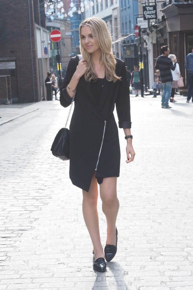 Tuxedo dress fashion blogger