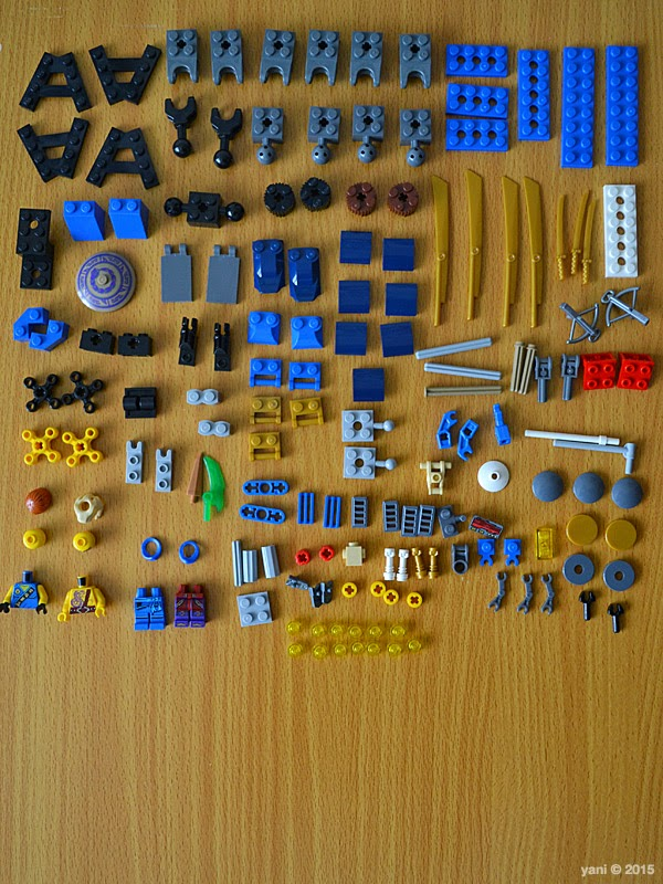 lego ninjago electromech - knolling in the blue