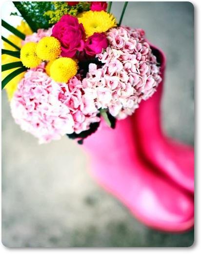 rosa gummistövlar, blommor gummistövlar