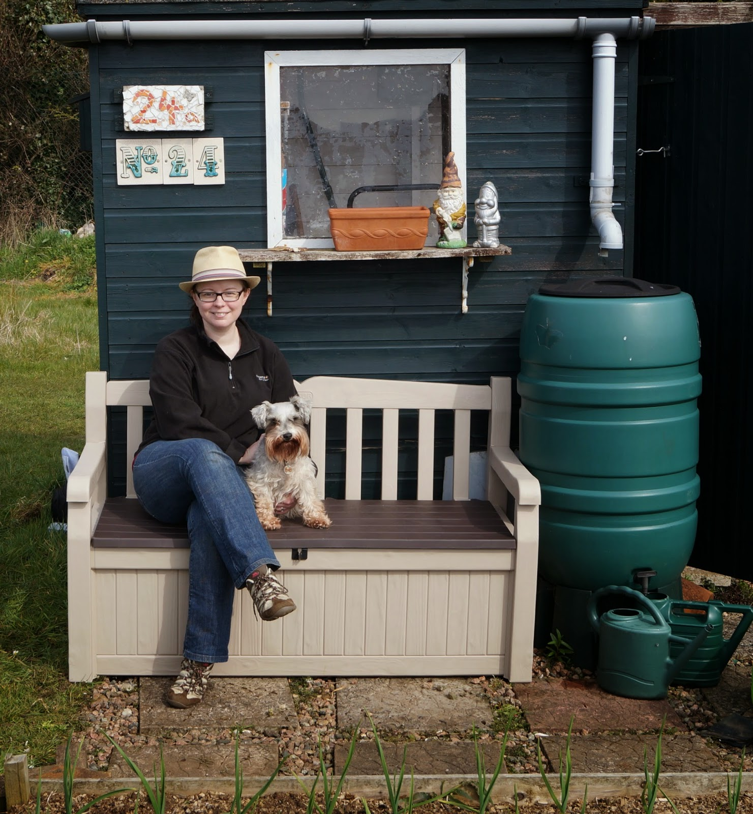 Maggie and I relaxing on the Keter Eden Storage Bench ~ growourown.blogspot.com