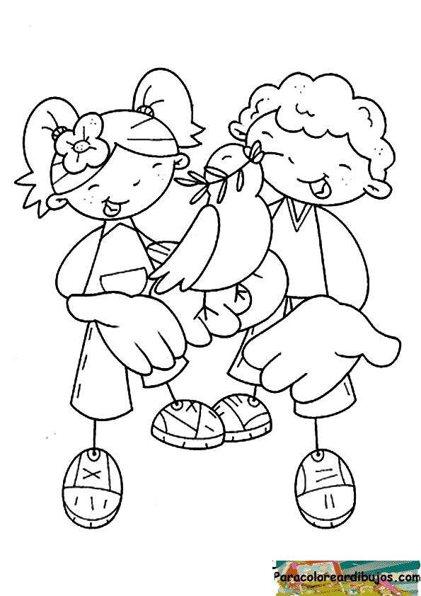 niños y paloma de la paz para colorear