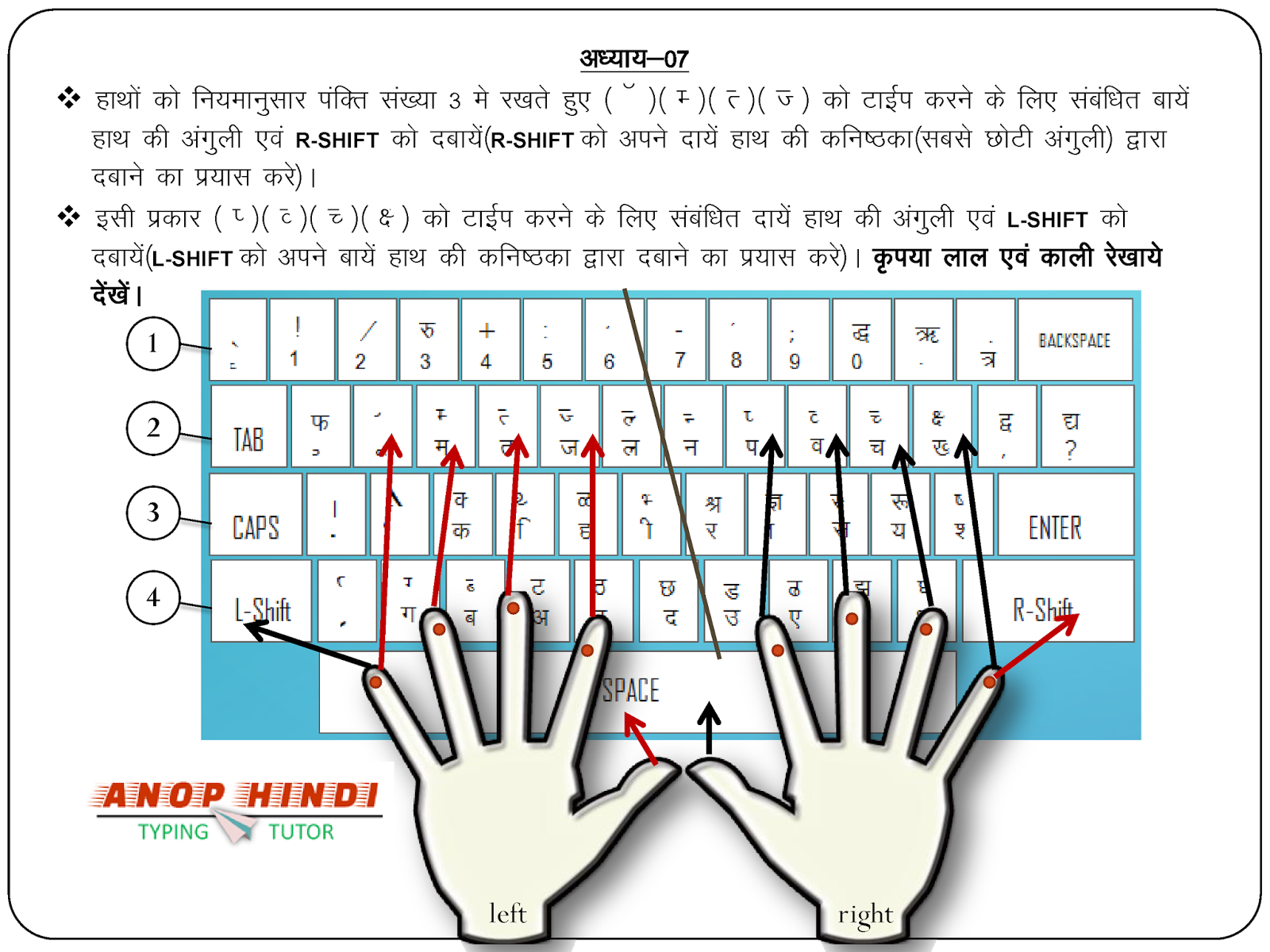 Anop Hindi Typing Tutor - Lesson 7