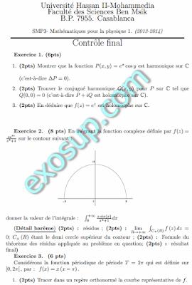 Contrôle final Analyse 3 SMP3 2013 2014+Corrigé FS BenMsik