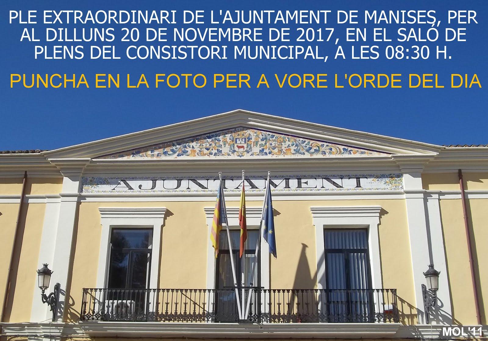 20.11.17 PLE EXTRAORDINARI DE L'AJUNTAMENT DE MANISES