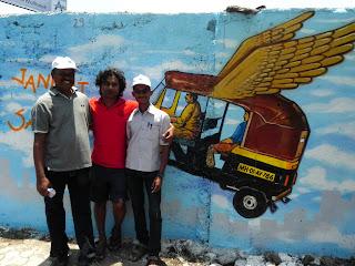 Hemant Sonawane with his assisting artists - Santosh Patil and Shashikant Chavan