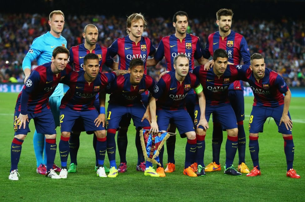 FC BARCELONA TEAM PHOTO VS PSG IN CHAMPIONS LEAGUE 2015