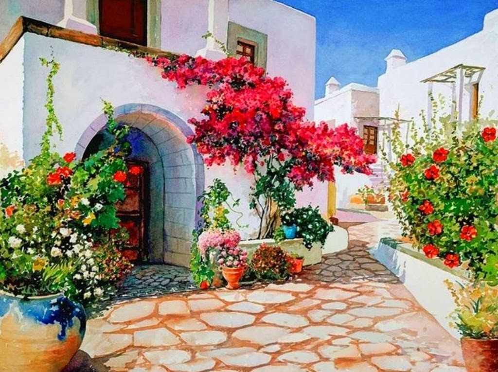 Cuadros modernos pinturas y dibujos paisajes pintados en - Paisajes de casas ...