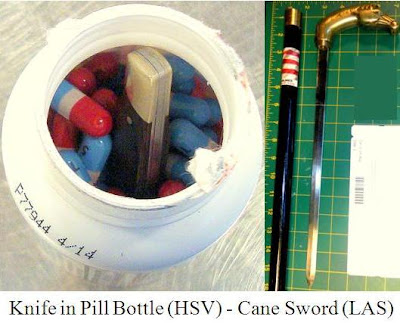 Knife hidden in pill bottle and a cane sword.