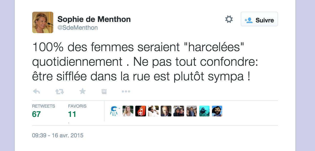 Le harcèlement de rue plutôt sympa ? Sophie de Menthon