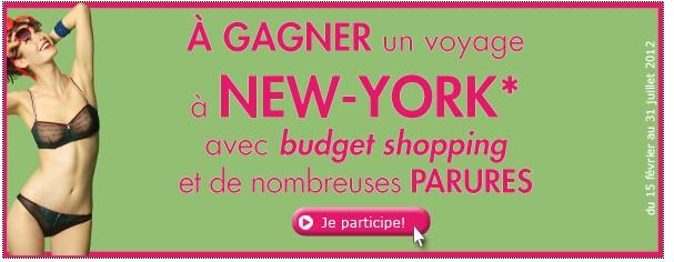 Jeu concours Billet Doux: 700 parures de lingerie Billet Doux (20 euros) + 1 voyage à New York bon plan jeux concours gratuit