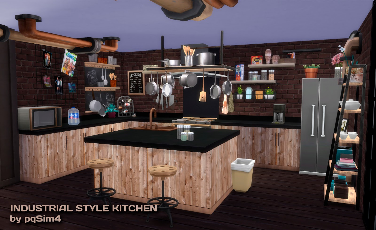 My sims 4 blog industrial kitchen set by pqsim4 for Sims 3 kitchen designs