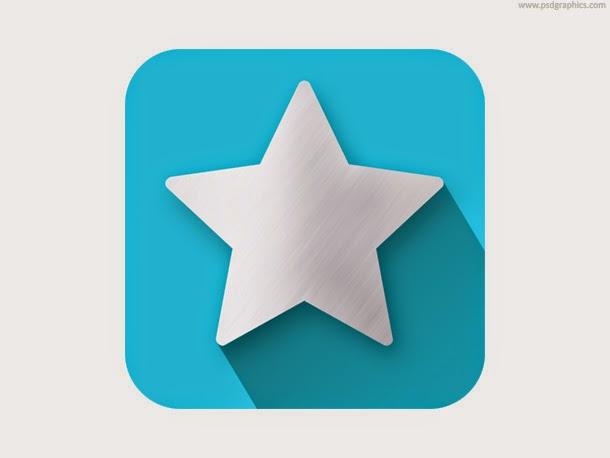 Star Shape Flat Icon PSD