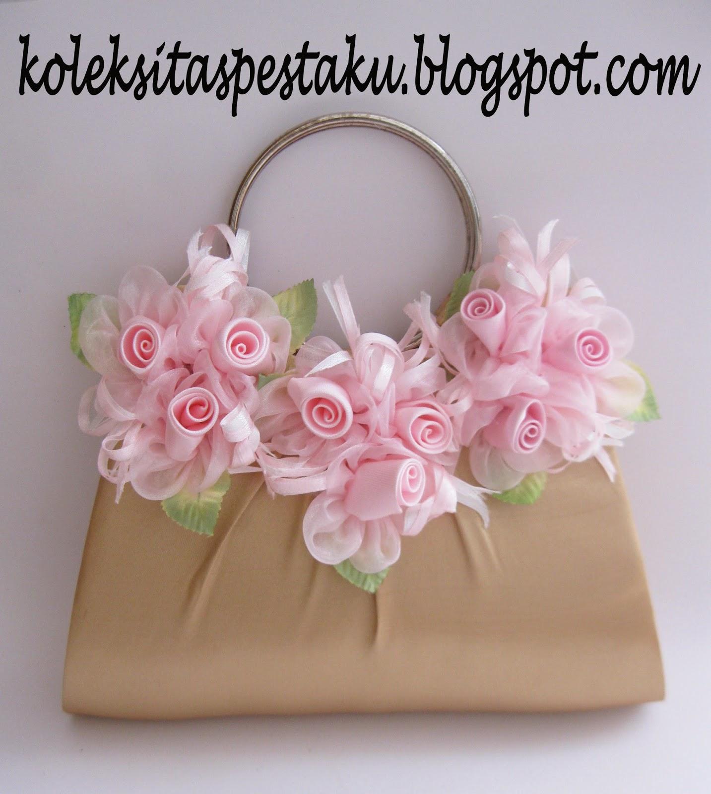 Tas Pesta dompet cantik gold bunga pink unik elegant