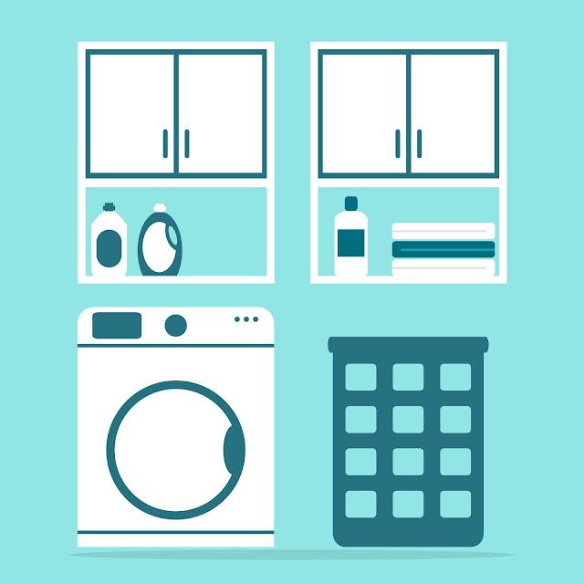 ilustração área de serviço - lavanderia