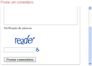 comentário bloqueado, caracteres pra confirmar, comentar no blog