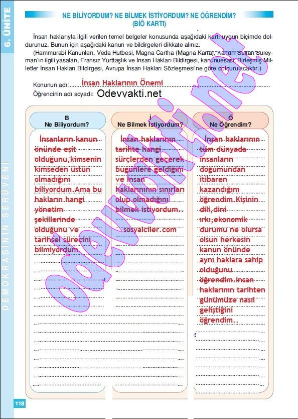 Altin kitaplar sosyal bilgiler çalışma kitabı cevapları sayfa 118