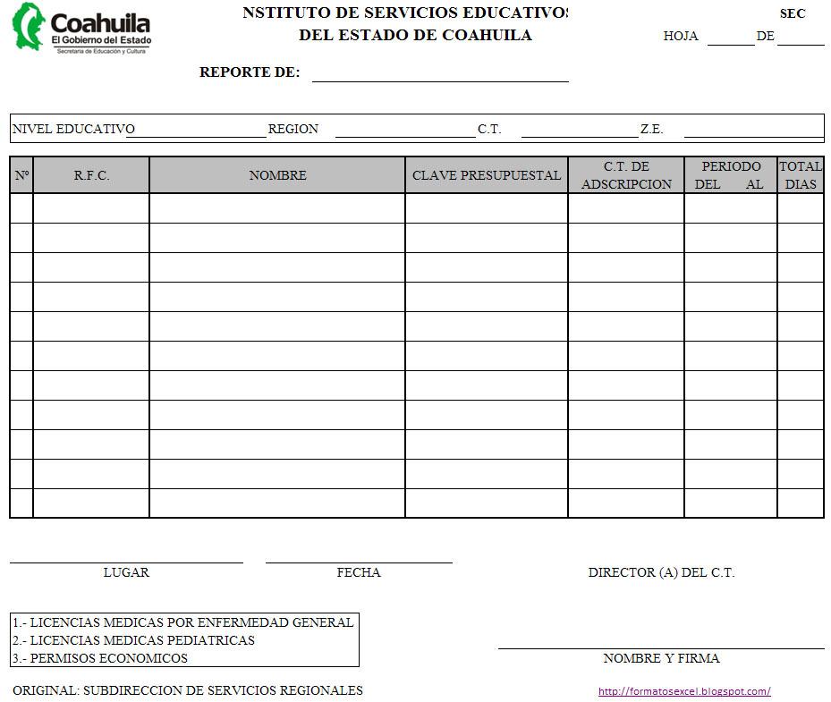 Formato del reporte de permisos y licencias medicas requerido por la ...