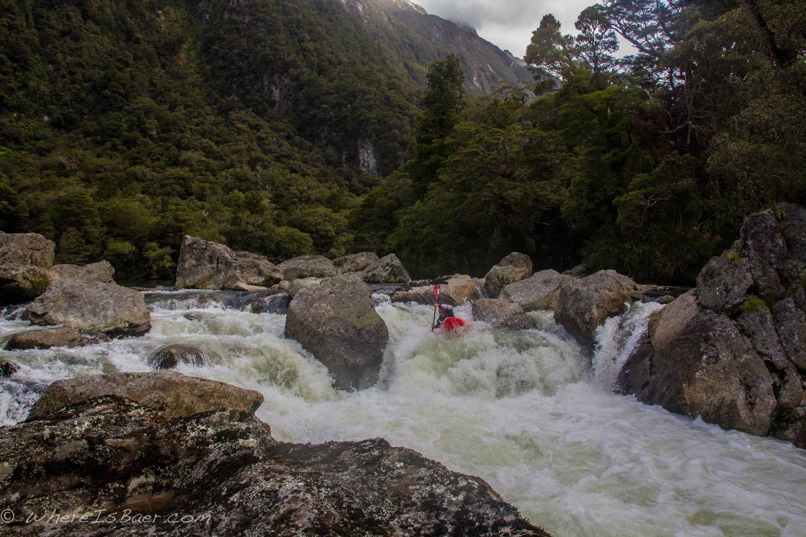 Gonzo reaching for a boof on the second major rapid of the Arthur River, NZ, whereisbaer