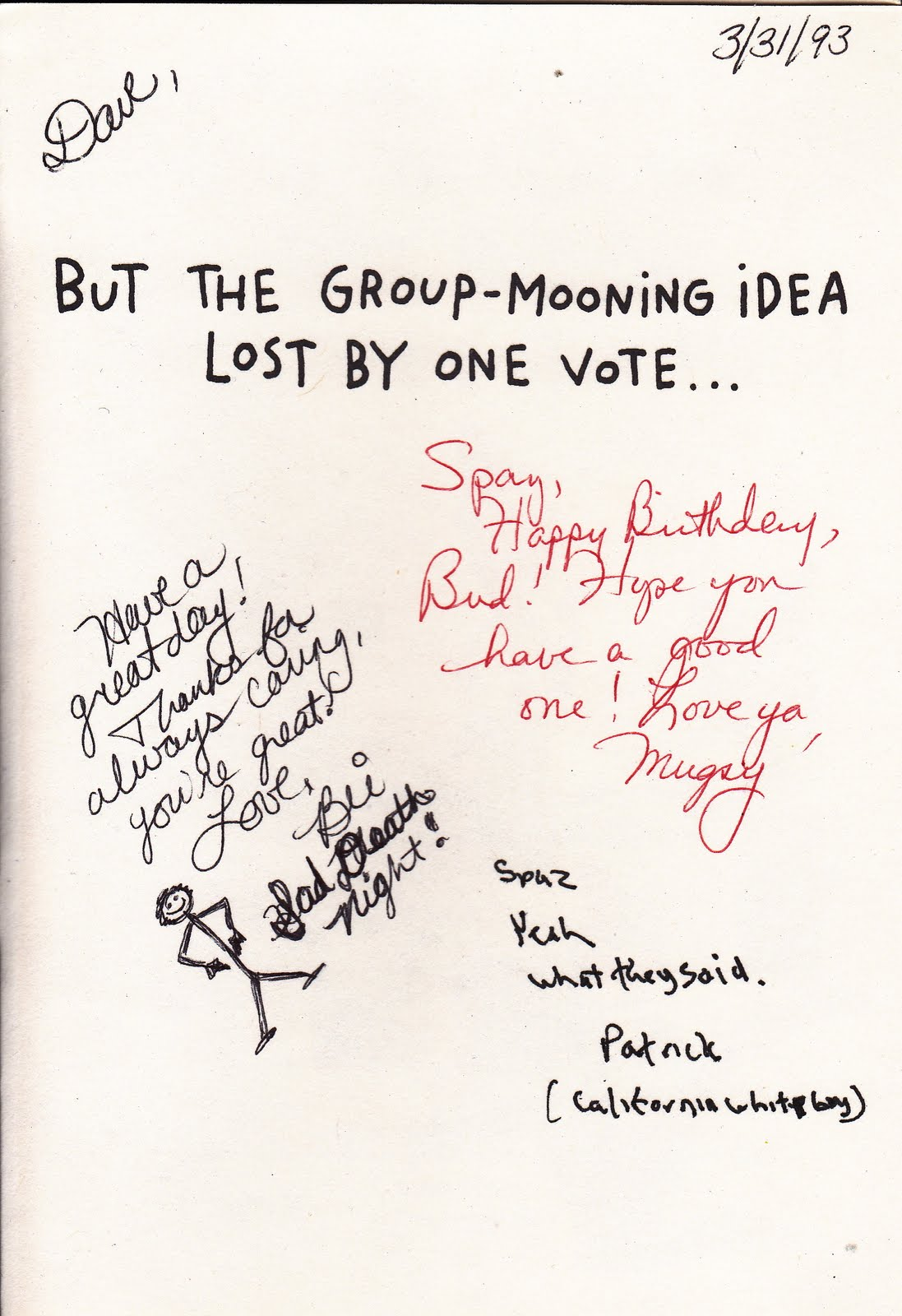 My life scanned birthday keg receipt cards sad deathnight poem card signed by freshman year friends but that also began a time that i used writing to fight back against the negativity cancer reminded me of during bookmarktalkfo Image collections