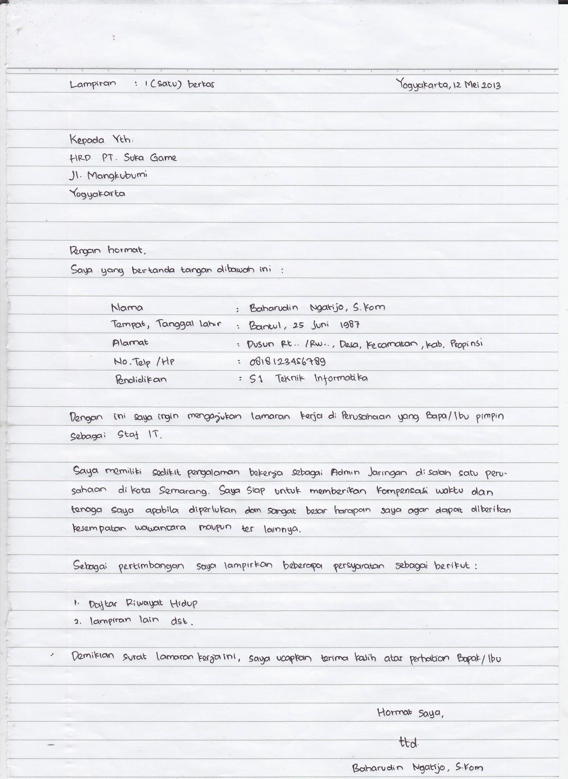 Resume permohonan kerja