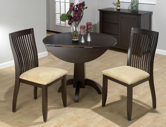 minimalist round dark brown wood small drop leaf table with some amazing dining chairs