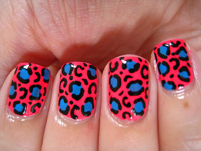 Neon-pink-leopard-print-blue-Barry-M-Models-Own-nail-art