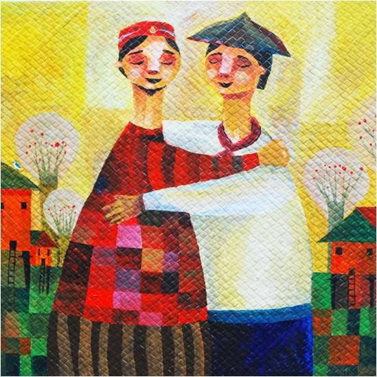 Yakap, an acryclic painting on banig by Jomike Tejido. Visit: www.jmtejido.com/painting-alamat-ng-bawang.html